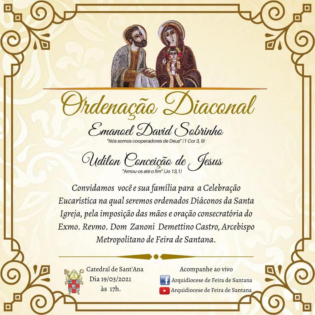 Dom Zanoni Ordenará dois novos Diáconos no Dia de São José
