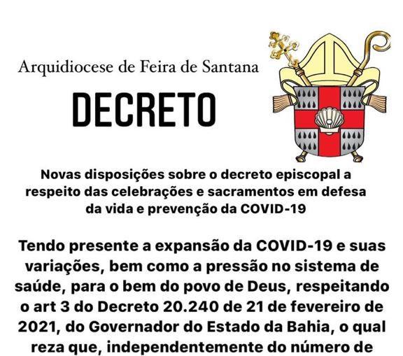 Decreto da Arquidiocese de Suspensão das Celebrações com a presença dos fiéis
